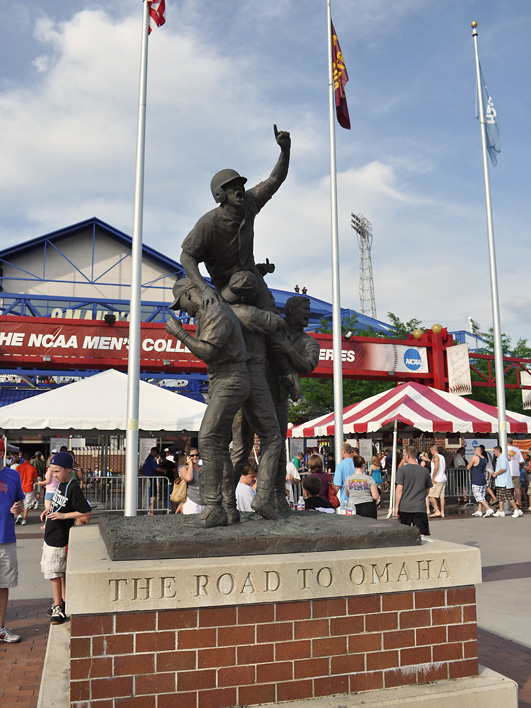 The Road to Omaha statue outside of Rosenblatt