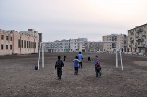 Soccer on a Dirt Field, Ulaanbaatar, Mongolia
